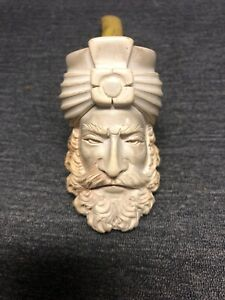 ANTIQUE-VINTAGE-1800-039-S-MEERSCHAUM-PIPE-BEAUTIFUL-Sultan-CARVING-WITH-AMBER-STEM