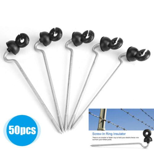 50Stk Ringisolatoren Weidezaun Isolatoren für Koppel Elektrozaun Ringisolator+