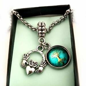 Claddagh Irish Green Wisdom Tree of Life Charm Bracelet Necklace Jewelry gift