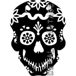 Sugar Skull w// Heart Day of Dead Vinyl Decal Car Window Wall Sticker CHOOSE SIZE