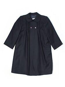 Girl-Pili-Carrera-Navy-Blue-Light-Weight-Wool-Blend-Holliday-Dress-Coat-Size-5