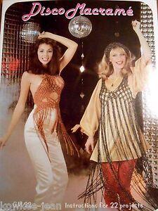 Disco-Macrame-Book-vintage-70s-patterns-fashion-belts-halters-scarf-bag-see-pics