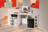 Bureau D´angle Meuble Informatique Console Avec Rangements Et Étagères Blanc