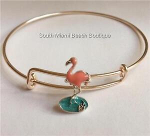 Rose-Gold-Silver-Flamingo-Charm-Bracelet-Enamel-Beach-Island-Plated-USA-Seller
