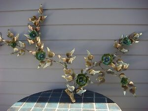 MID-CENTURY-WALL-ART-BRONZE-CERAMIC-SCULPTURE-PAIR-FLOWER-SIGNED-AIRCO