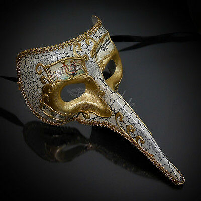 Medieval Plague Doctor Venetian Masquerade Mask for Men M7461 - Gold/Ivory