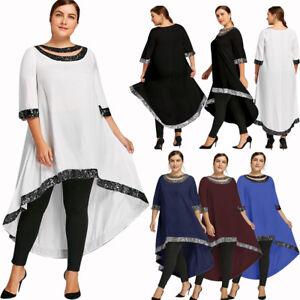 Details about Women\'s Plus Size Sequined Trim Dip Hem Dress Longline Cut  Out Dress