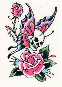 temporary tattoo ed hardy schmetterling mit totenkopf und rosen ebay. Black Bedroom Furniture Sets. Home Design Ideas