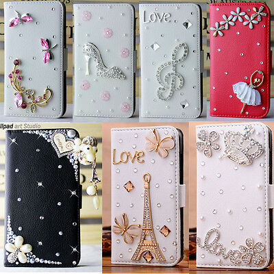 For ASUS ZenFone 4 bling flip leather card holder case stand cover handmade