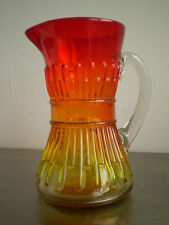 CARAFE VERRE SOUFFLE COLORE ROUGE JAUNE DECO ART TABLE Gt BACCARAT ANCIEN