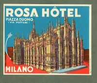 RARE Hotel luggage label ITALY Rosa Milano different variety style 2 #722
