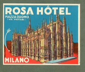RARE-Hotel-luggage-label-ITALY-Rosa-Milano-different-variety-style-2-722