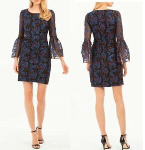 Nicole-Miller-NY-Black-Embroidered-Tulle-Long-Bell-Sleeve-Sheath-Dress-2-NWT