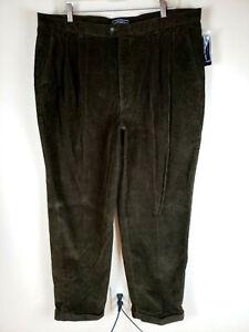 Susquehanna Trail 40x32 Ancho Wale Pantalones De Pana Para Hombre Oliva Plisado Ebay