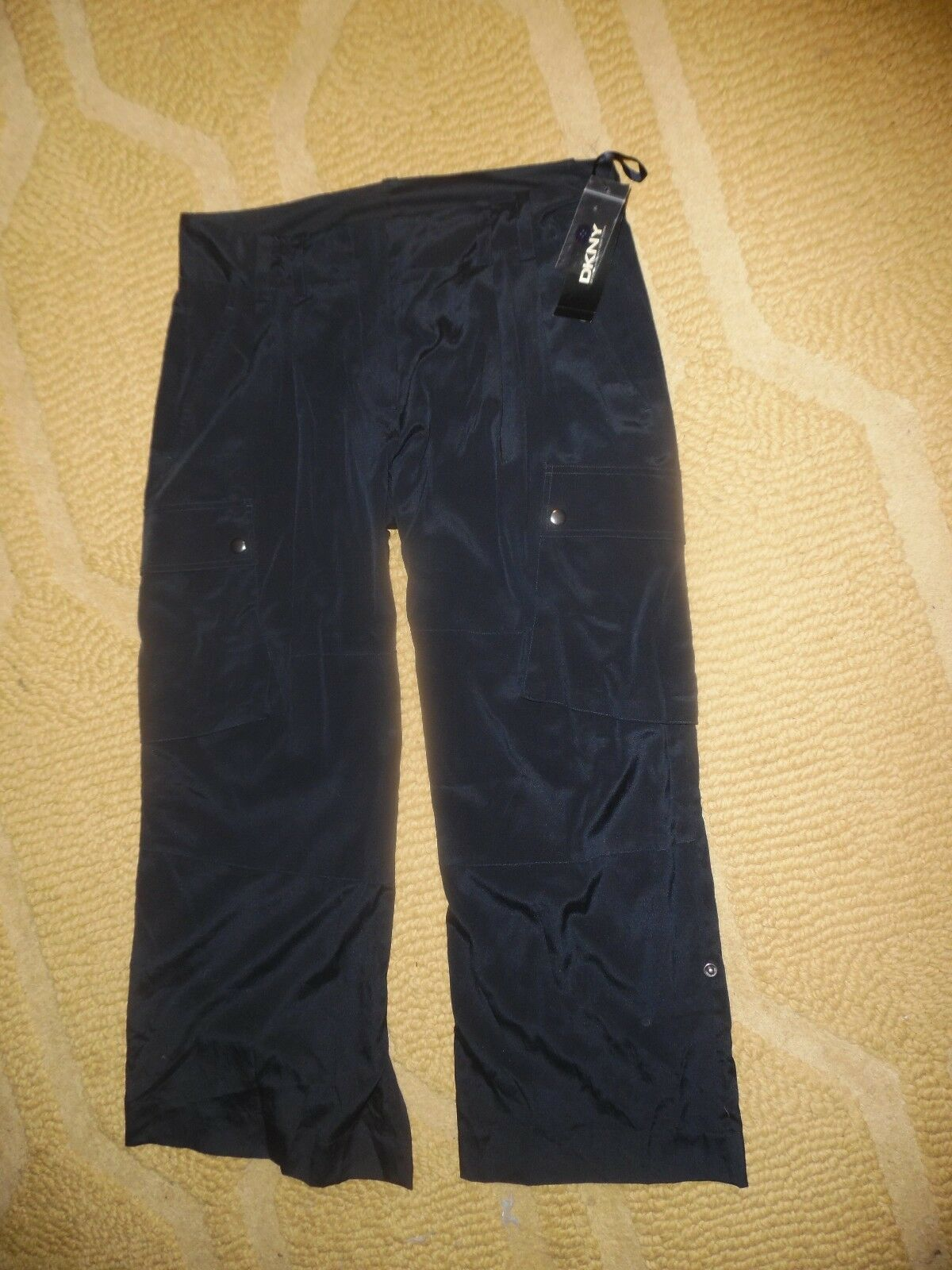 NWT  295 DKNY Silk Cropped Pants Navy Size 8