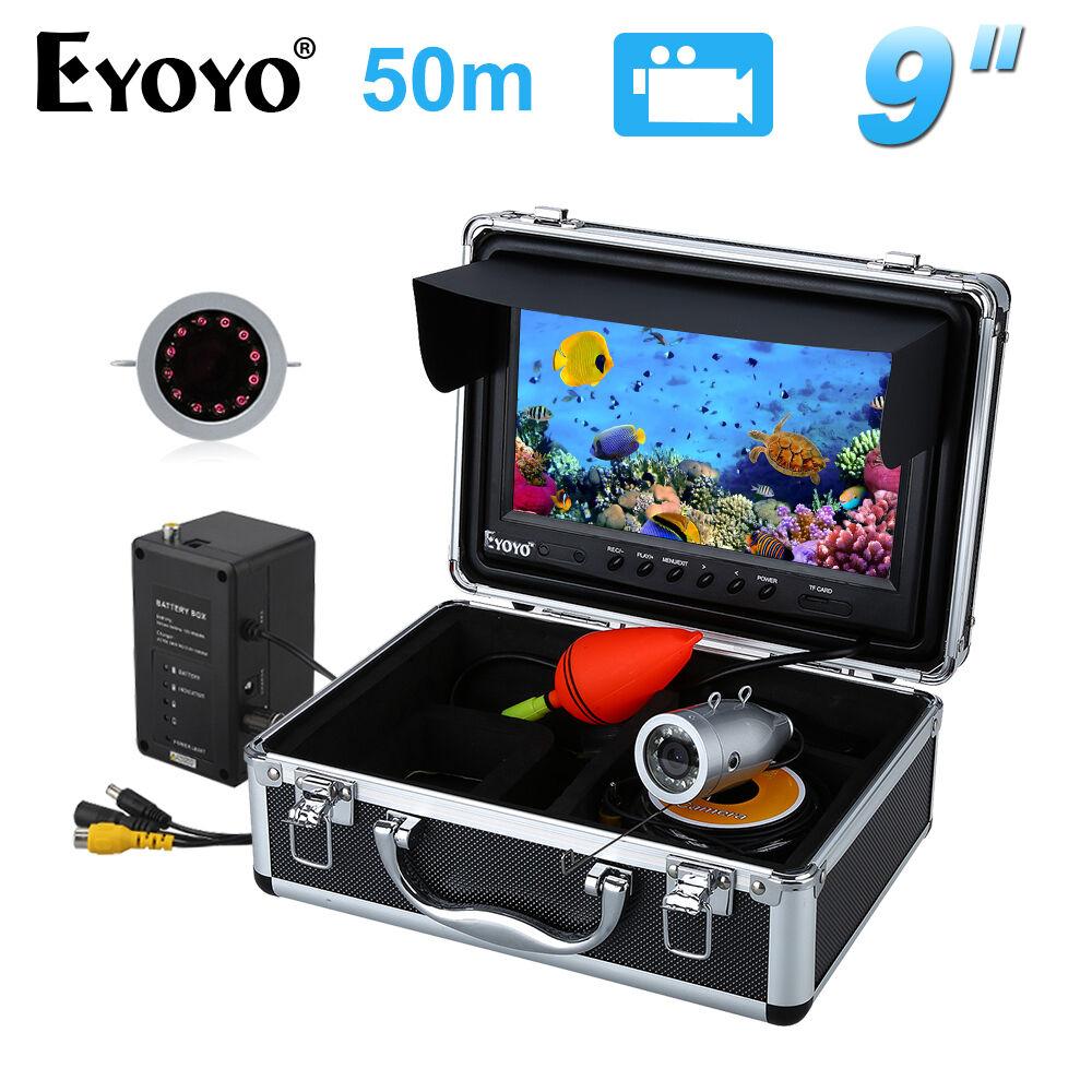 Eyoyo 50m 9  LCD 1000TVL Fish Finder Infrared Fishing Camera 8GB DVR +Sunvisor