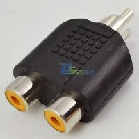 AV Audio Y Splitter Plug Adapter 1 RCA Male Plug to 2 RCA Female Jack Connector