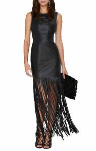 Women Genuine Lambskin Leather Evening Long Fringe Ladies Party Leather Dress