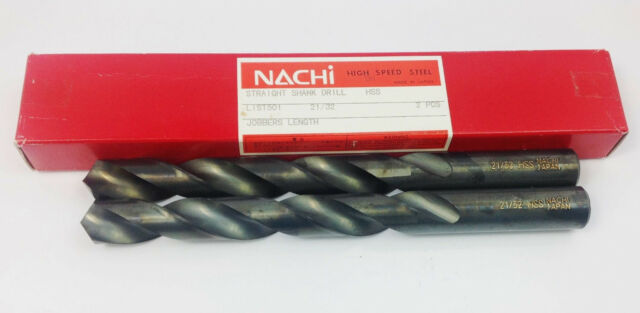 TWO PIECES NACHI 21//32  DRILL LIST 501 STRIGHT SHANK DRILL HSS Black