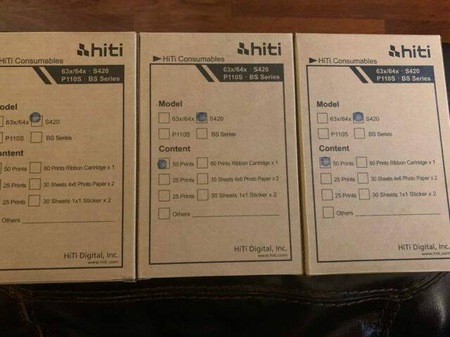 5 Packs Hiti Paper and Ribbon Pack for S420 Printer 50 Sheets 4x6 Prints