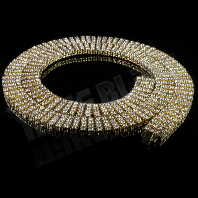 14k Gold 4 ROW Crystal Simulated Clear Diamond Iced Out Chain Hip Hop Necklace