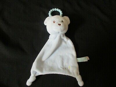 "HTF Animal Adventure 11/"" Tan Teddy Bear Baby Security Blanket Rattle Patch Lovey"