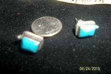 Sterling Silver Turquoise Bead  Rope Edge Southwest Antique Style Post Earrings