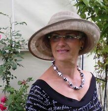 Seeberger Flapper plissiert ivory Sommerhut breit festlich Braut elegant Hut