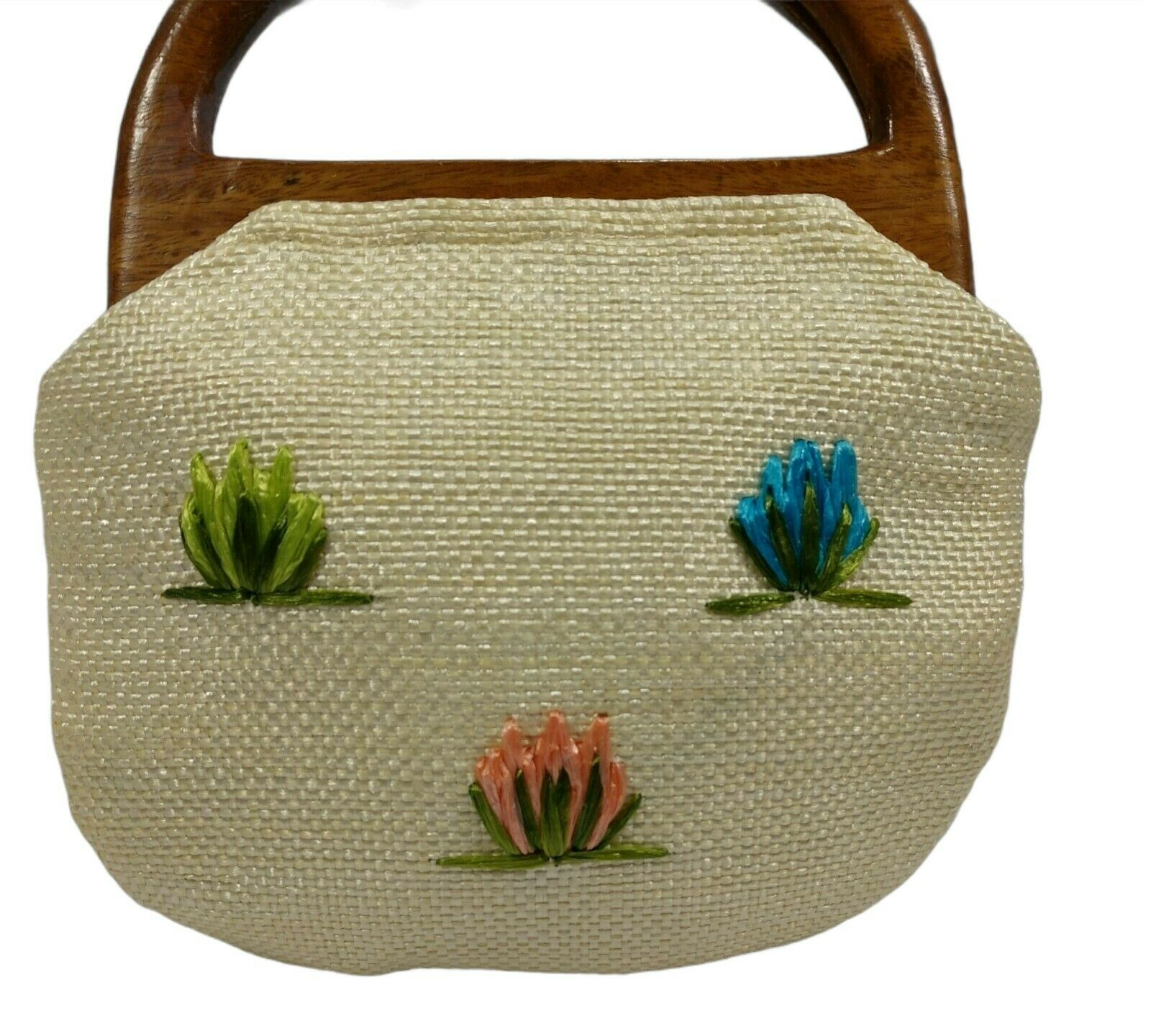 Vintage 60s Raffia Handbag Floral Print Top Handl… - image 9