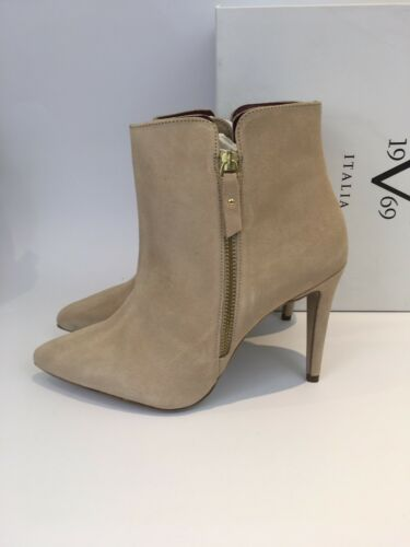 Versace Lou V Size Pointed Suede Boots 1969 41 Beige Toe Ankle Tortora qqA7r