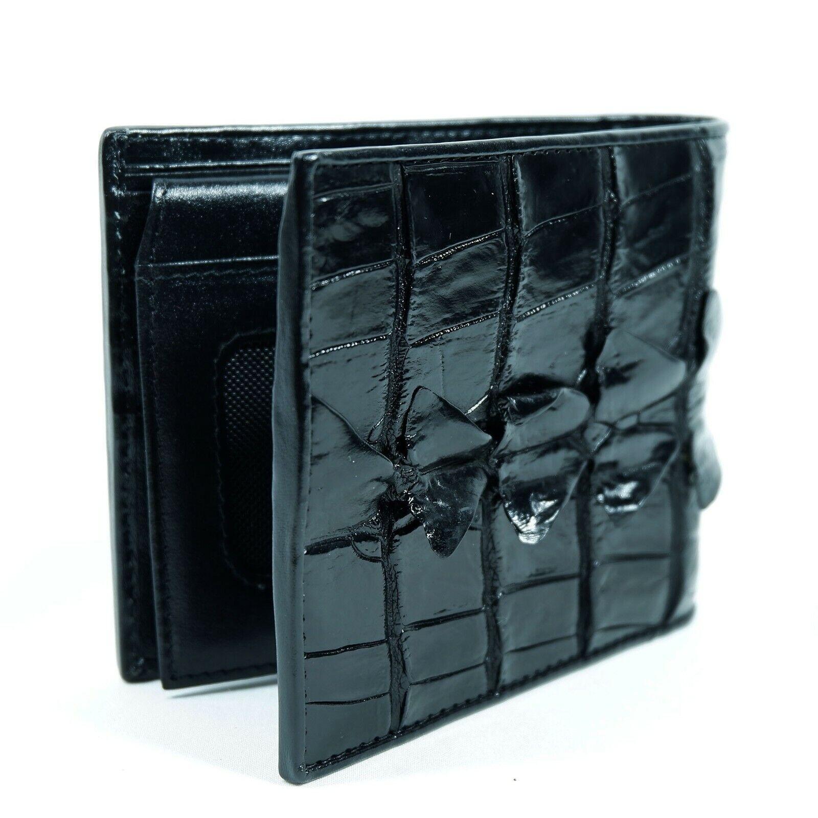 New Black High Gloss Crocodile Mens Bi-fold Zipper Coin Wallet Free shipping.
