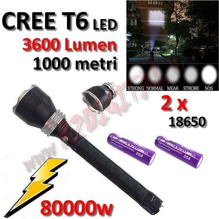 LAMPADA TORCIA POLICE 80000W CREE CREE CREE LED MILITARE T6 3600Lm LUCE POWER ZOOM MARINA 567359