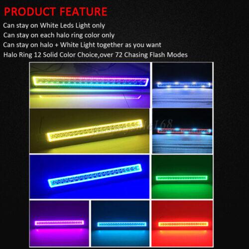 "20/"" inch 126W 4D RGB Chasing Halo LED Offroad Light Bar Driving ATV SUV UTE"