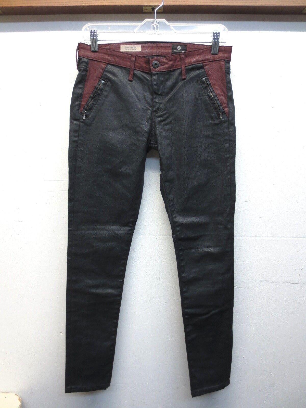 Excellent état utilisé Adriano orschmied The WilFaible Zip Leggings Jeans Enduit Zip Bottines Taille 28R