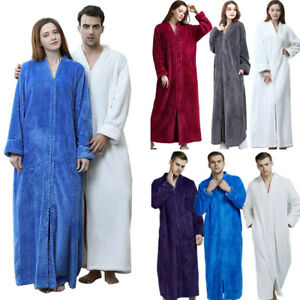 81ab379b7d Men Women Winter Warm Long Pajama Sleepwear Bathrobe Night-robe Soft ...