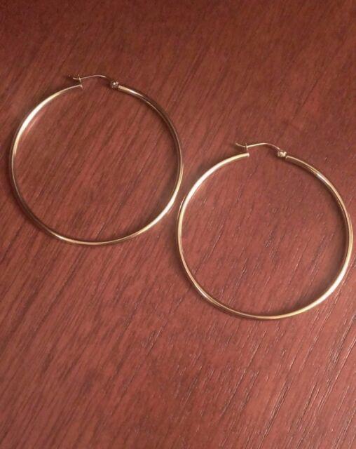 ddd12d96cf703 10k Yellow Gold Plain Hoop Earrings 2x50mm 2