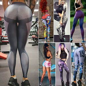 bc08e809c5 Women Slim Fit Yoga Fitness Leggings Gym Sports Pants Training Tight ...