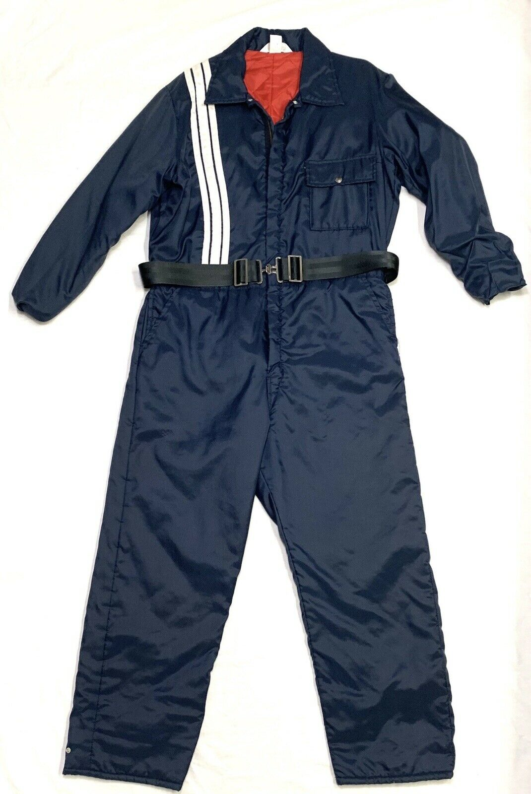 Vtg NWOT KEY IMPERIAL INSULATED NAVY blueE WHITE  STRIPES SNOW SKI SUIT ADULT Sz L  80% off