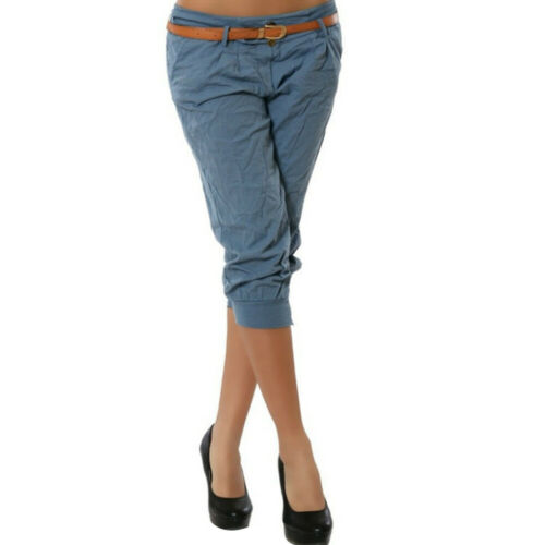 LADIES 3//4 TROUSERS WOMEN THREE QUARTER ELASTICATED WAIST CAPRI CROPPED PANTS UK