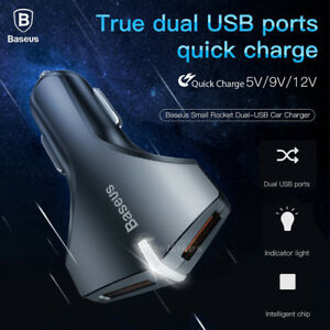 BASEUS-Dual-USB-Car-Charger-Power-Adapter-Cigarette-Lighter-Socket-Connector