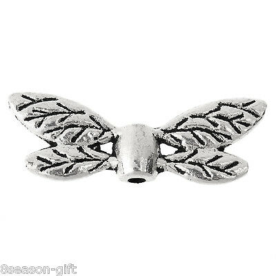 100PCs Metal Beads Silver Tone Dragonfly Wing 22mm x8mm