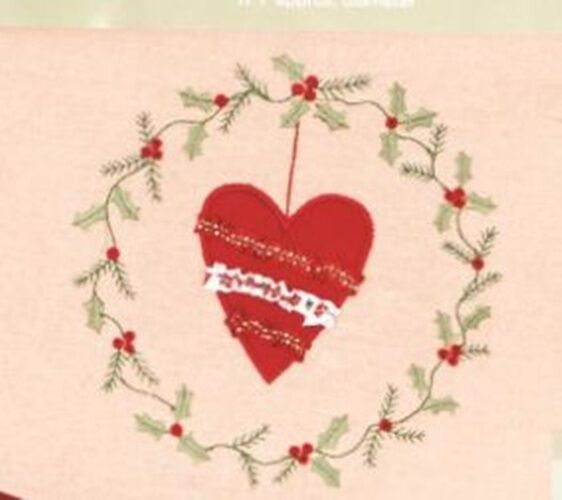 Deluxe Christmas Tree Skirt Embroidered Detail Heart Or Tree Design