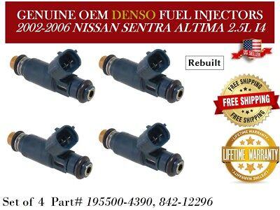 195500-4390 for 2002-2006 Nissan 2.5 L4 OEM Denso Fuel Injectors Set 4
