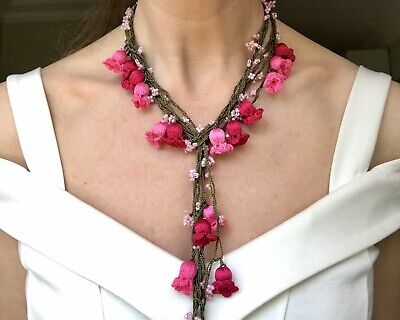 Handmade Crochet Purple Beaded Necklace Wool Necklace Perfect Accessory Great Gift