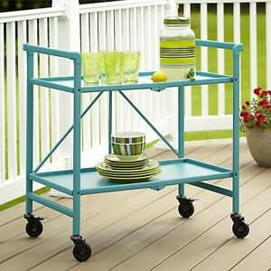 Details About Cosco Folding Serving Cart With Wheels Rolling Metal Storage Table Teal