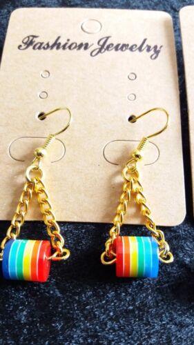 Grano de Arco Iris//cadena dejar pendientes de plata tono o ganchos de tono oro NUEVO hecho a mano