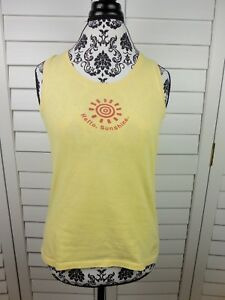 Life-is-Good-Hello-Sunshine-Tank-Top-Womens-Small-Yellow-Shirt-Ladies-Casual