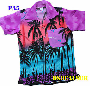 estilo de moda para toda la familia grande descuento venta Detalles de Camisa Hawaiana Fiesta Playa Niño Niña Children Palmera Fiesta  Disfraces