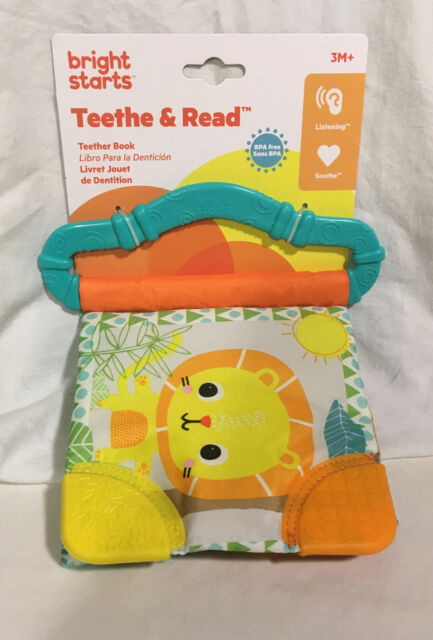 Bright Starts Teethe and Read Soft Baby Book With Teething Corners BPA Free 3m