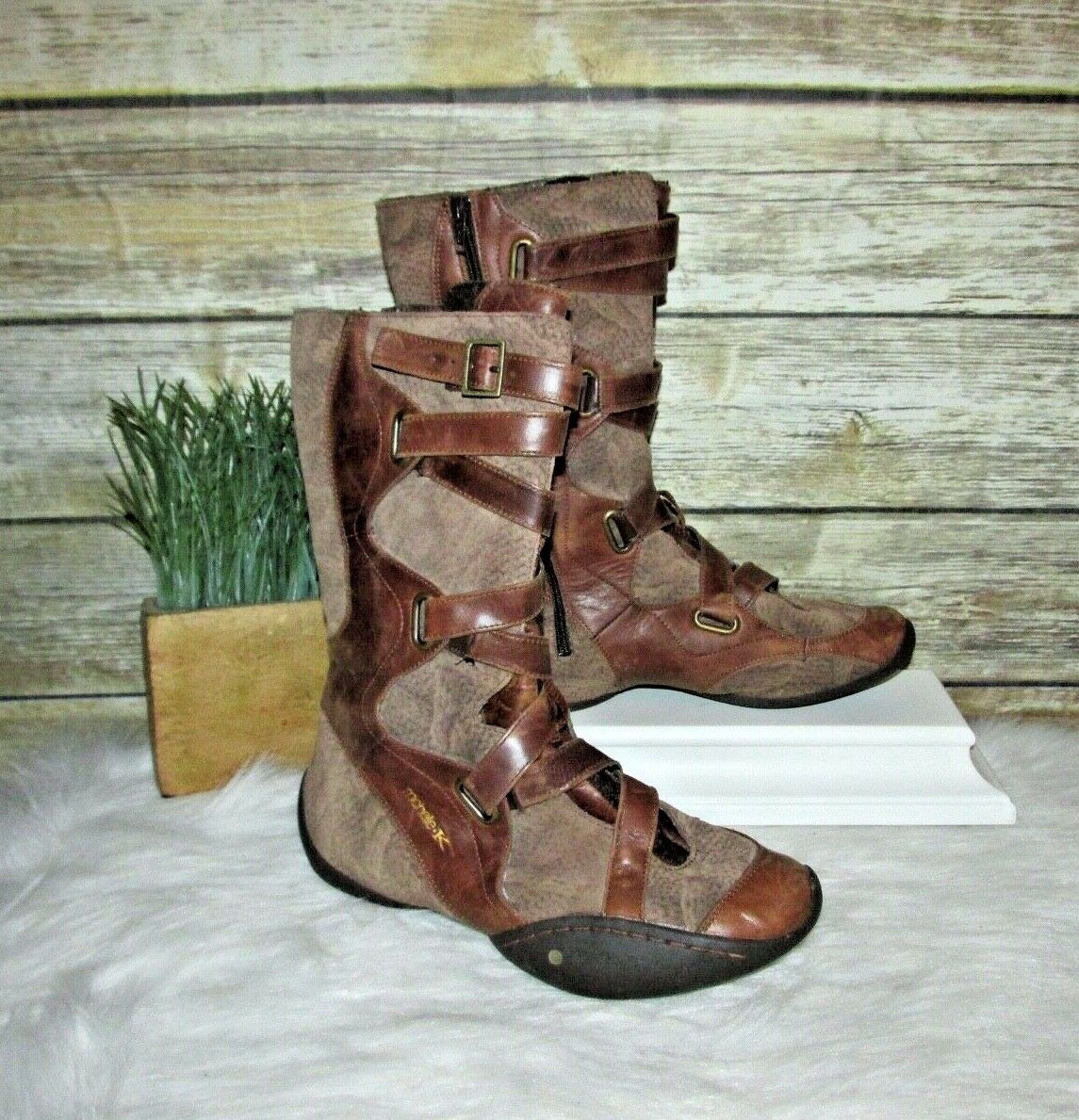 Michelle K Impetus Brown Suede Leather Zip Up Up Up Harness Mid Calf Boots Sz 7 37 f08cc7